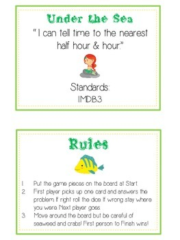 Under the Sea Math Folder Game - Common Core - Telling Time Half Hour Hour