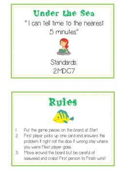 Under the Sea Math Folder Game - Common Core - Telling Time within 5 Minutes