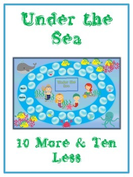 Under the Sea Math Folder Game - Common Core - Ten More and Ten Less
