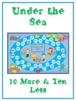 Under the Sea Math Folder Game - Common Core - Ten More an