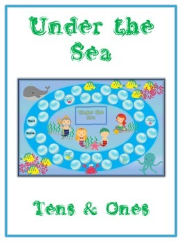 Under the Sea Math Folder Game - Common Core - Tens and On