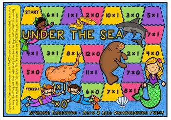 Under the Sea Multiplication Board Game x0 and x1 Facts