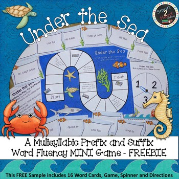 Under the Sea - Multisyllabic Mini Game Prefix and Suffix Word Fluency FREEBIE