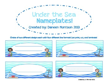 Under the Sea Name Plates