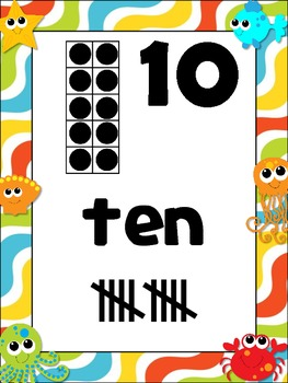 Under the Sea Number Posters {Common Core Math} crab octopus starfish ocean