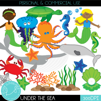 Under the Sea Ocean Animals Clip Art