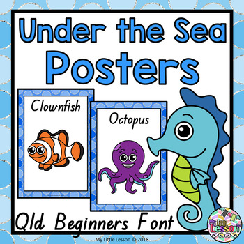 Under the Sea, Ocean Animals Posters QLD Beginners Font