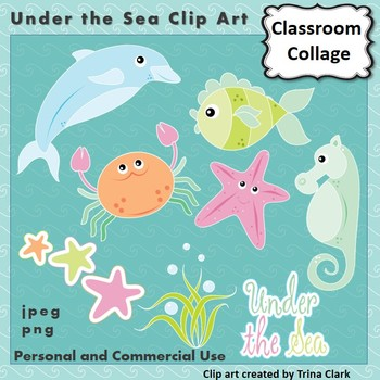 Under the Sea Ocean Clip Art - Color  personal & commercial use