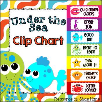 Under the Sea Ocean Behavior Clip Chart - Labels {beach} Positive Behavior