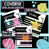 Under the Sea/Ocean BINDER COVERS-Plan Book, Journal, Portfolio... **EDITABLE**