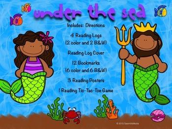 Under the Sea (Ocean, Mermaids, Sea Animals)  Bookmarks, Reading Logs, Posters