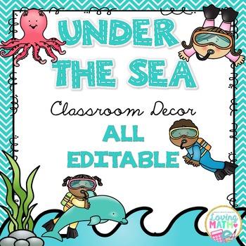 Under the Sea / Ocean Theme Classroom Decor - EDITABLE