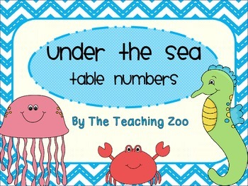 Under the Sea Ocean Theme Table Numbers