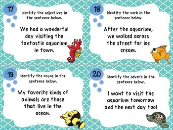 Under the Sea Parts of Speech- Task Card Kit- Nouns, Verbs, Adjectives, Adverbs