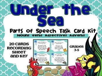 Under the Sea Parts of Speech- Task Card Kit- Nouns, Verbs