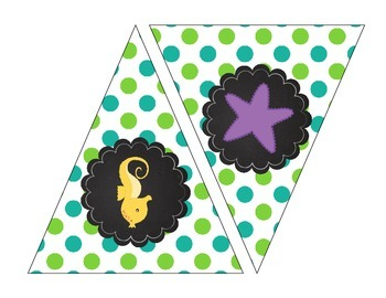 Sea Creatures Printable Banner Polka Dot Chevron Teal Green Purple Cute