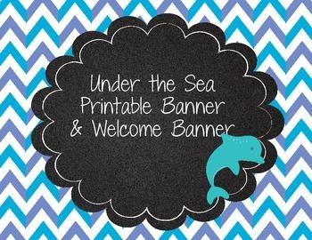 Under the Sea Printable Banner Polka Dot Chevron Teal Gree
