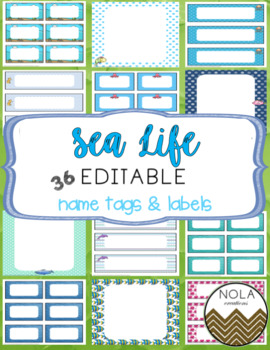 Under the Sea / Sea Life EDITABLE Name Tags and Labels