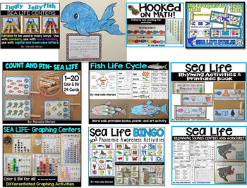 Ocean Animals, sea Life-Literacy, Science,Math-Lesson plans, Centers, Worksheets