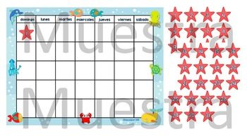 "Calendaro ""Bajo el mar"" - Under the Sea Spanish Calendar Pack"