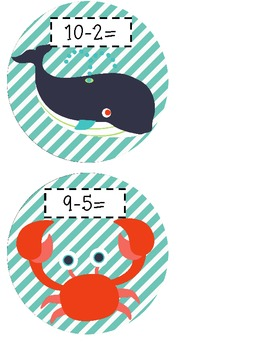 Under the Sea Subtraction Using a Number Line FREEBIE