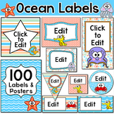 Ocean Theme Editable Labels and Templates - Under the Sea Theme Classroom Decor