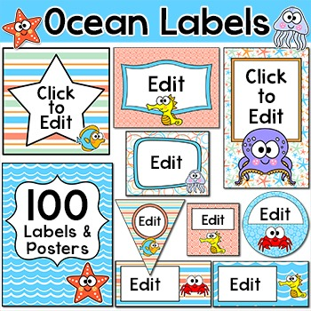 Ocean Theme Labels and Templates - Under the Sea Theme Cla