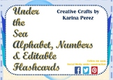 Under the Sea Theme Alphabet, Numbers & EDITABLE Flashcards FREE Printables