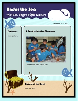 Under the Sea Theme Class Newsletter (Elementary or Middle)