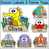 Ocean Theme - Name Tags Labels - Under the Sea Theme Classroom Decor