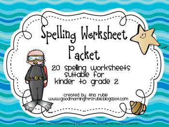 Under the Sea Theme Spelling Worksheets Packet