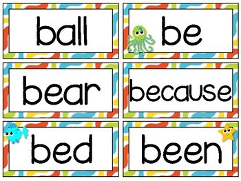 the Sea Theme [Word Wall and Headers] Fry & Dolch Sight Words ...