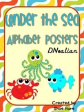 Under the Sea Themed Alphabet Posters {crab octopus starfish} DNealian Font