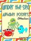 Under the Sea Themed Classroom Alphabet Posters  DNealian Font