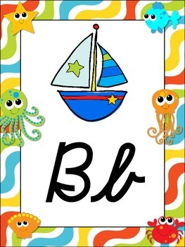 Under the Sea Themed Alphabet Posters {crab octopus} CURSIVE DNealian Font