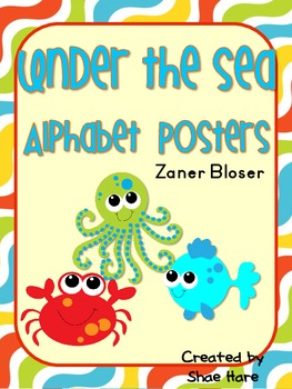 Under the Sea Themed Alphabet Posters {crab octopus starfish} Zaner Bloser Font