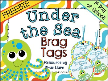 Under the Sea Themed Brag Tags {1st Day Back to School}  Necklace FREEBIE!