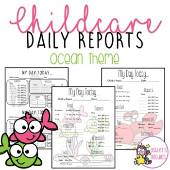 Under the Sea Themed Childcare Daily Reports  (Daycare)