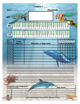 Under the Sea Themed Piano Lessons Assignment Sheet