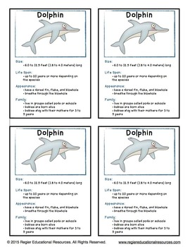 Ocean Trading Cards: Factual Information About Under the Sea Animals