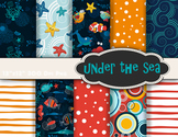 Under the Sea Tropical Sea Animals Digital Paper Ocean Fish Scrapbook Paper Pack