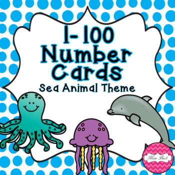 Under The Sea Theme Number Cards 1-100