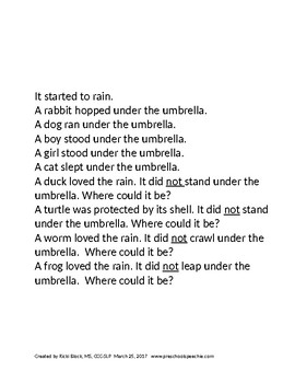 Under the Umbrella Following Directions for UNDER and NOT