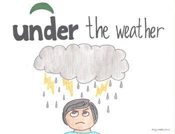 Under the Weather Cartoon--Printable Montessori Preposition/Grammar/Idiom Cards