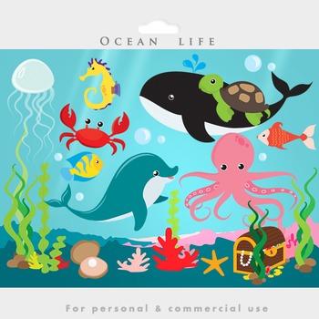 Under the ocean - sea clip art fish dolphin whale jellyfish octopus treasure