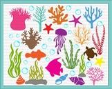 Under the sea Clipart Ocean Sea Bundle Algae Fish Star Seashells svg cut files