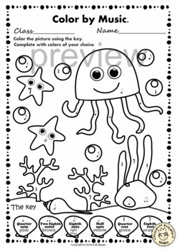 Under the sea: Color by Notes and Rests