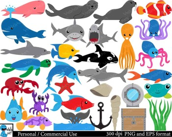 Under the sea Digital Clip Art Personal Commercial Use 62 PNG cod160