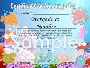 Under the sea animals Achievement award English / Spanish version