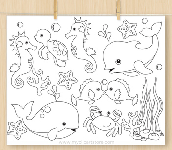 Under the sea clipart #1 - BLACKLINE - color me, with outlines
